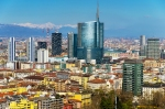 DXBRNT City skyline with Porta Nuova business district and the Alps behind, Milan, Lombardy, Italy